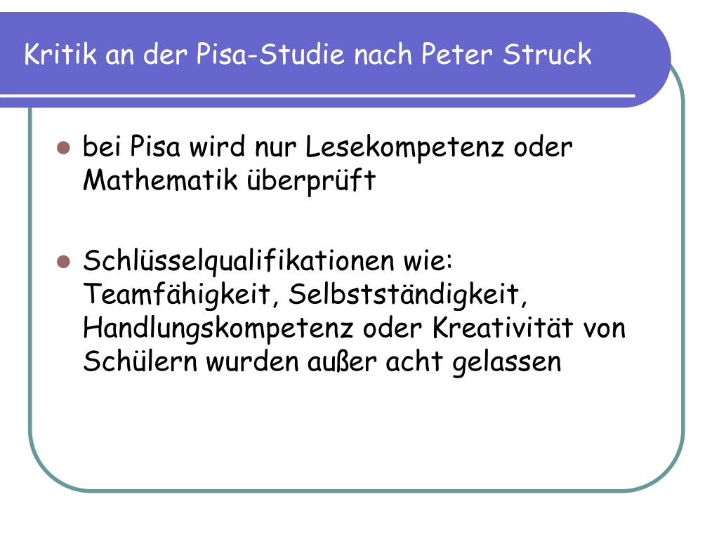 Pisa Studie Kritik