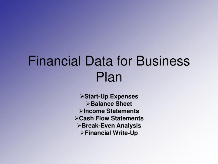 financial data for business plan n.