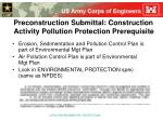 preconstruction submittal construction activity pollution protection prerequisite