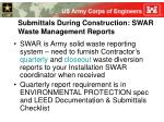 submittals during construction swar waste management reports