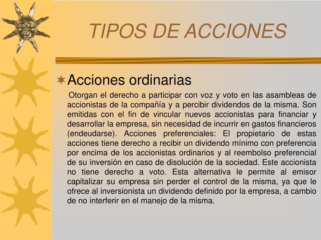 TIPOS DE ACCIONES