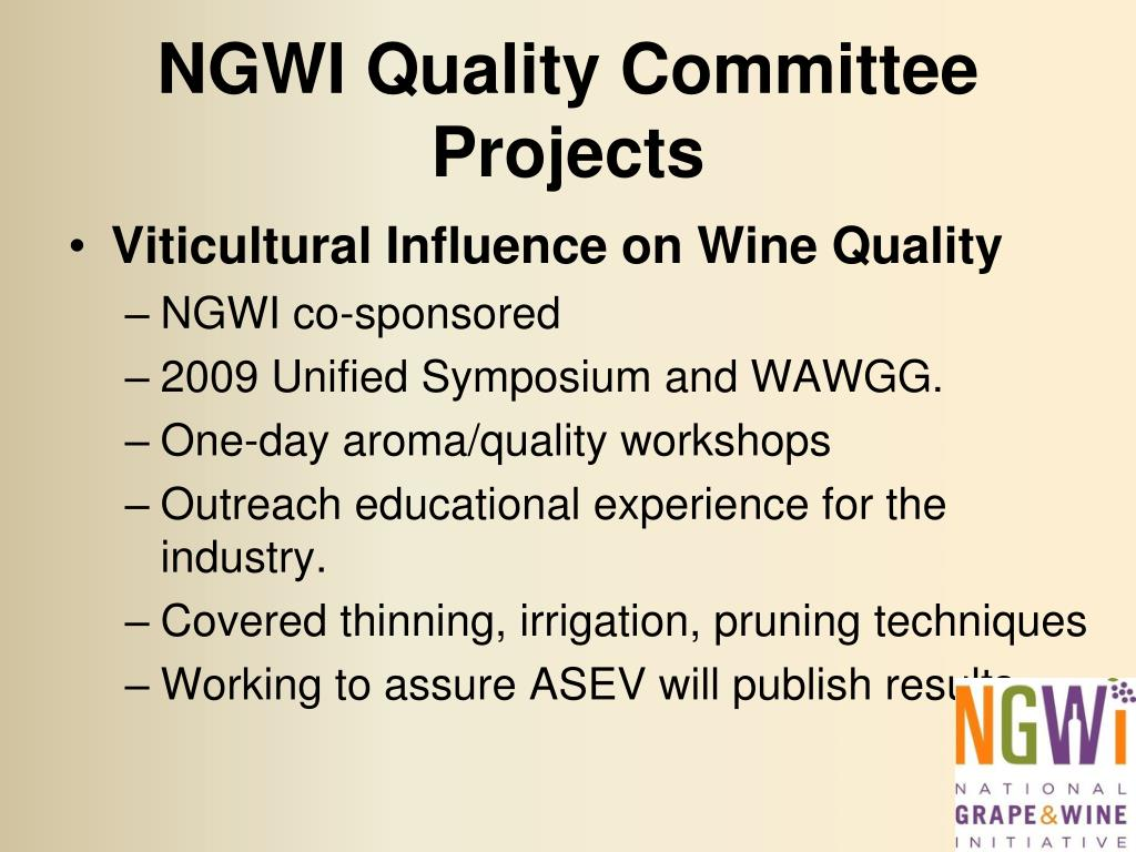 NGWI Quality Committee Projects