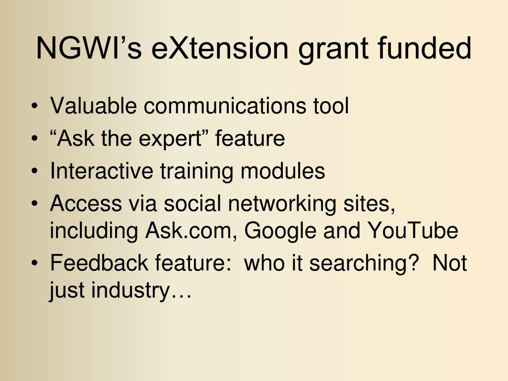 NGWI's eXtension grant funded