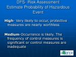 dfs risk assessment estimate probability of hazardous event