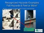 recognized hazards examples fall hazards 6 feet or more 1