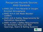 recognized hazards sources ansi standards23