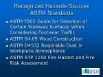recognized hazards sources astm standards