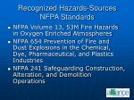 recognized hazards sources nfpa standards
