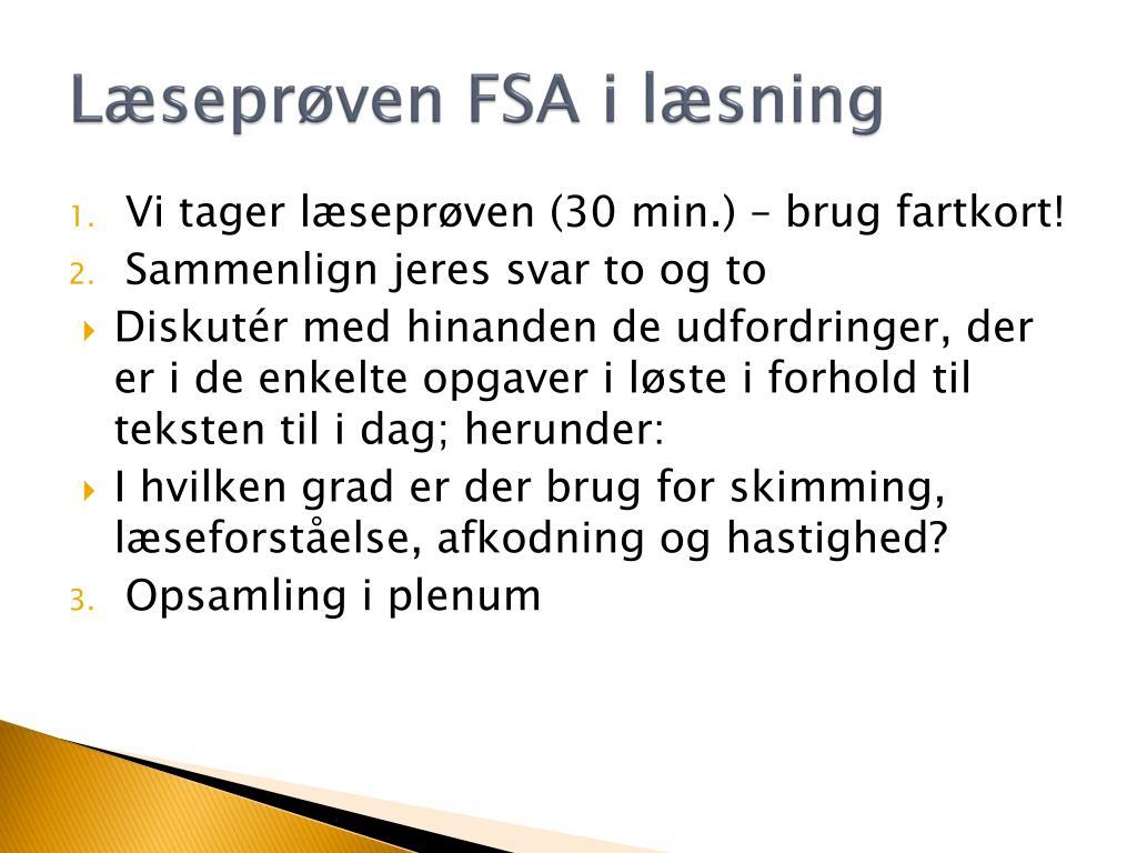 Læseprøven FSA i læsning