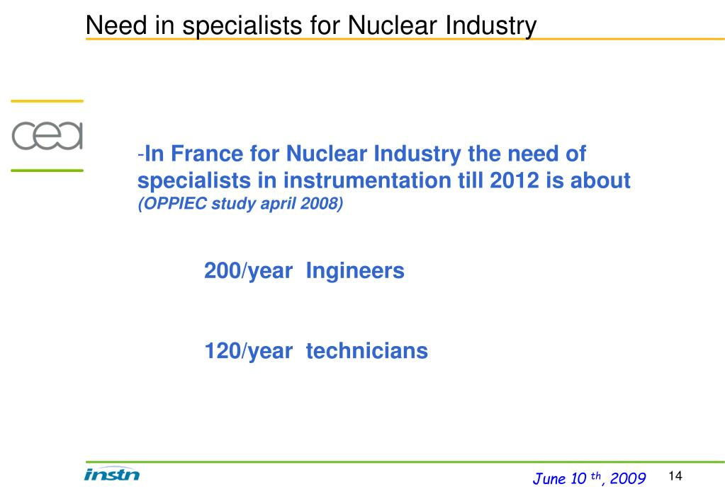 Need in specialists for Nuclear Industry