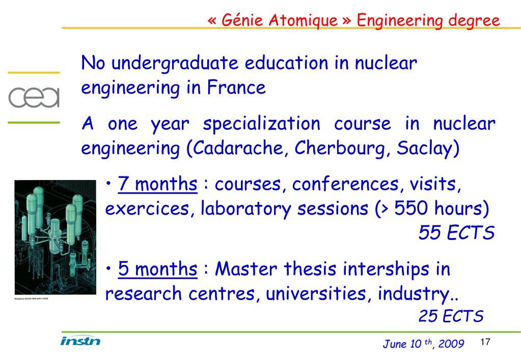 «Génie Atomique» Engineering degree