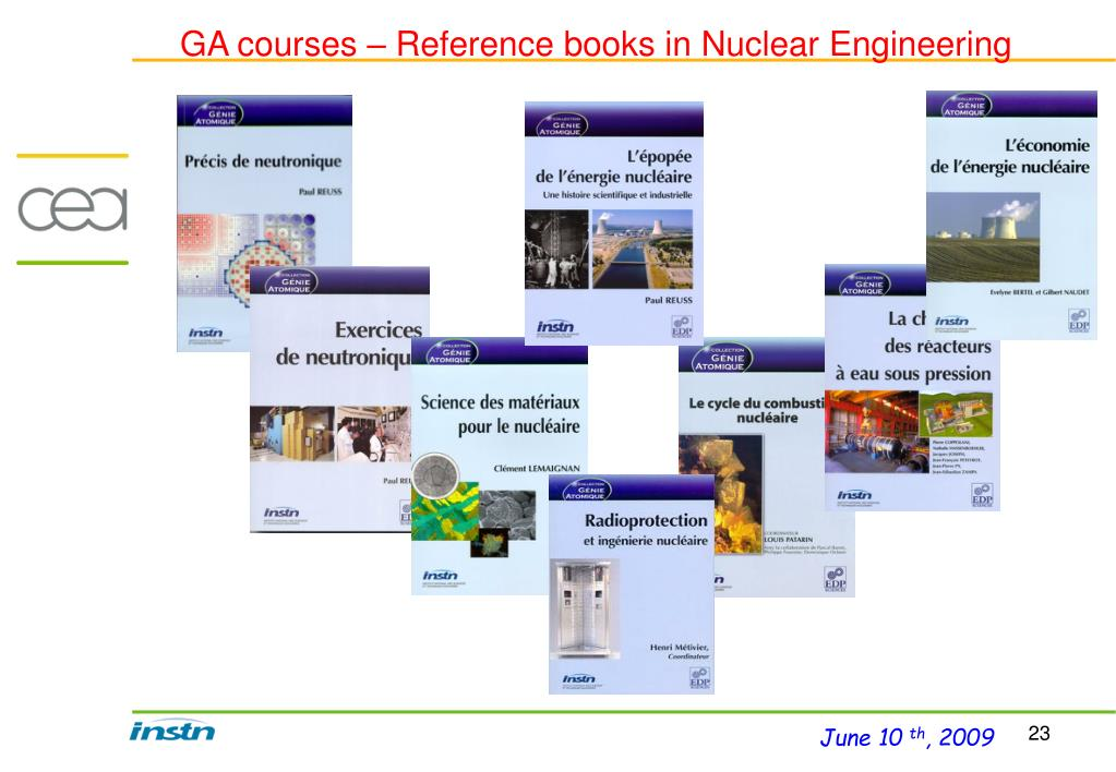 GA courses – Reference books in Nuclear Engineering