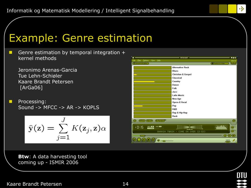 Example: Genre estimation