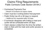 claims filing requirements public contracts code section 20104 2