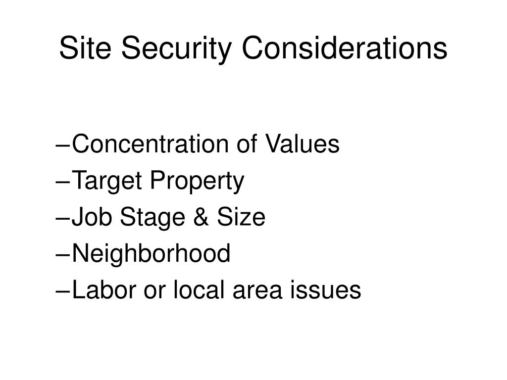 Site Security Considerations