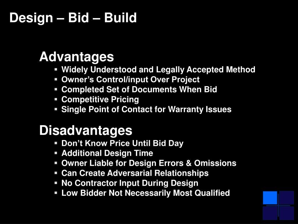 Design – Bid – Build