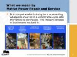 what we mean by motive power repair and service