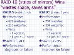 raid 10 strips of mirrors wins wastes space saves arms