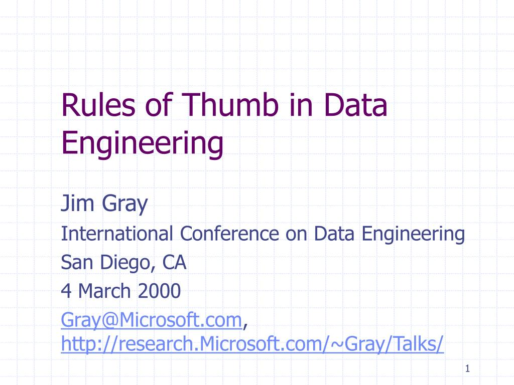 rules of thumb in data engineering l.