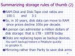 summarizing storage rules of thumb 2