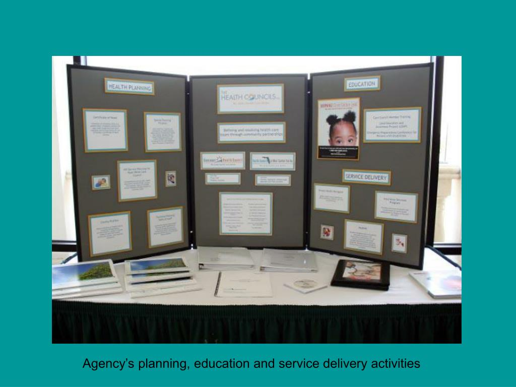 Agency's planning, education and service delivery activities