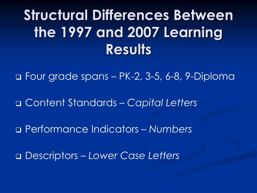 Structural Differences Between the 1997 and 2007 Learning Results