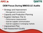 oem focus during mmog le audits