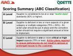 scoring summary abc classification