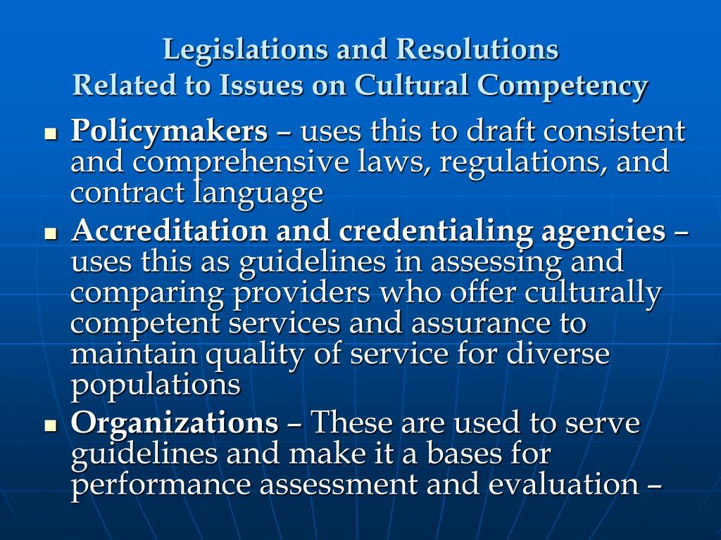 Legislations and Resolutions