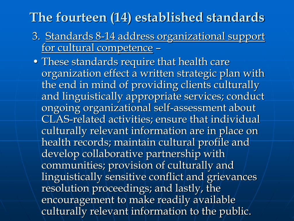 The fourteen (14) established standards