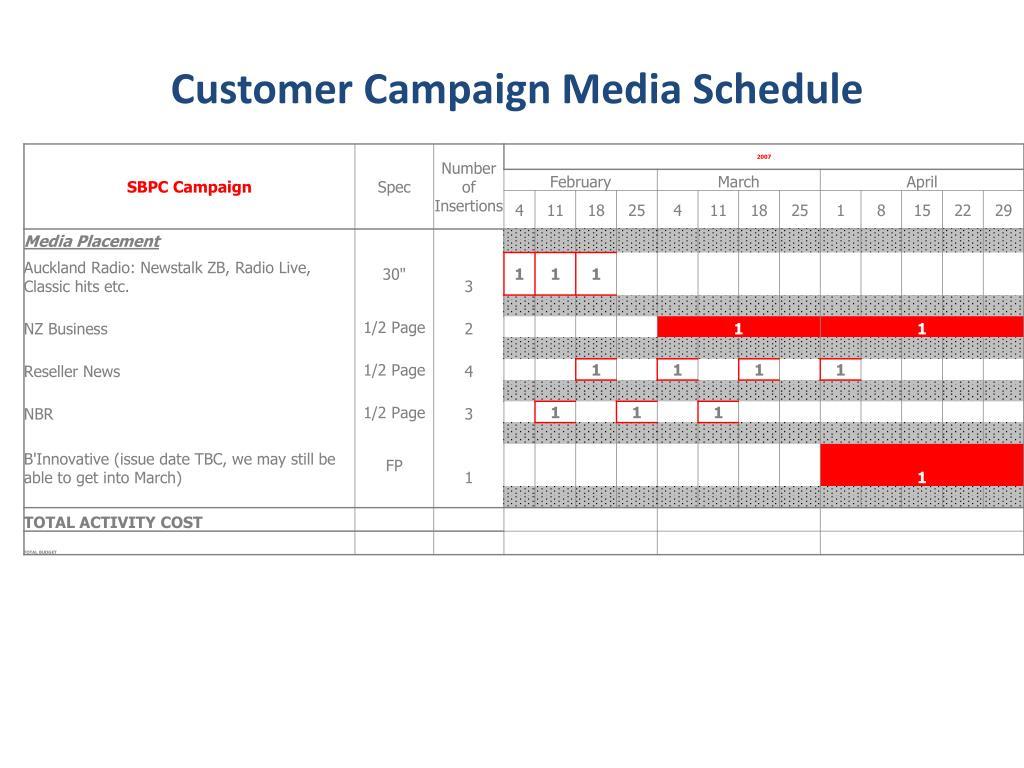 Customer Campaign Media Schedule