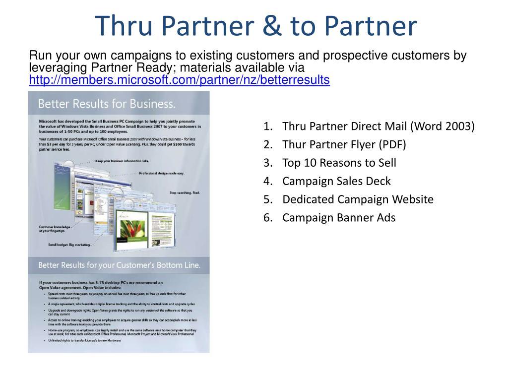 Thru Partner & to Partner