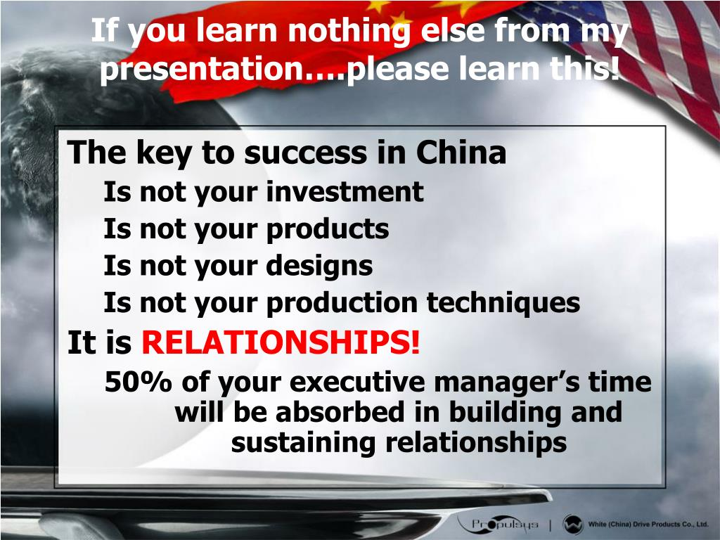 The key to success in China