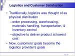 logistics and customer satisfaction