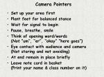 camera pointers