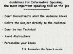 guidelines for informative speaking the most important speaking skill on the job