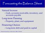 forecasting the balance sheet