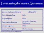 forecasting the income statement