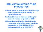 implications for future production
