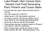 lake powell glen canyon dam navaho coal fired generating plant phoenix and tucson water