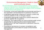 environmental management health safety and community issues