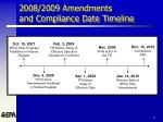 2008 2009 amendments and compliance date timeline