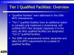 tier i qualified facilities overview