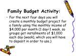 family budget activity