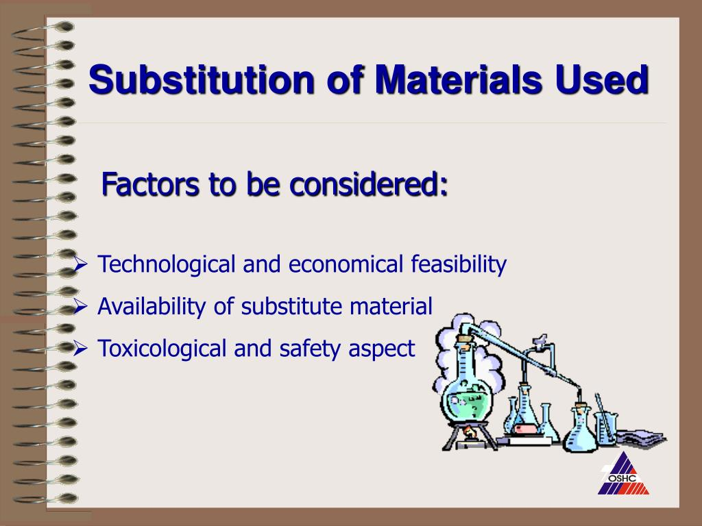 Substitution of Materials Used