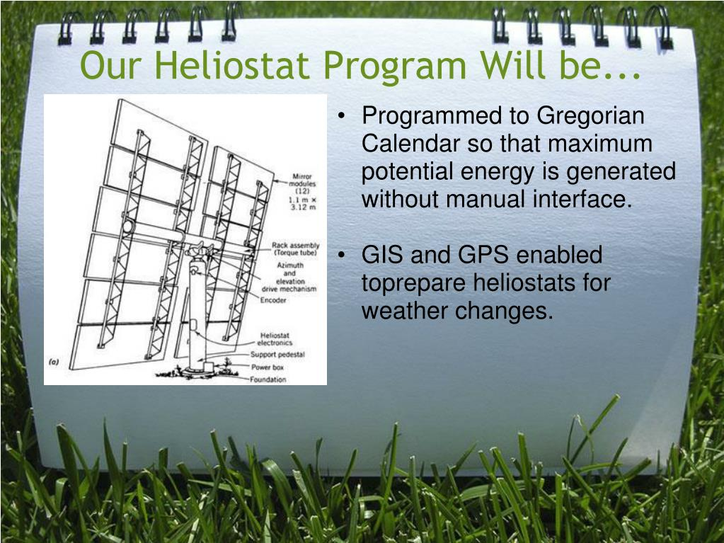 Our Heliostat Program Will be...