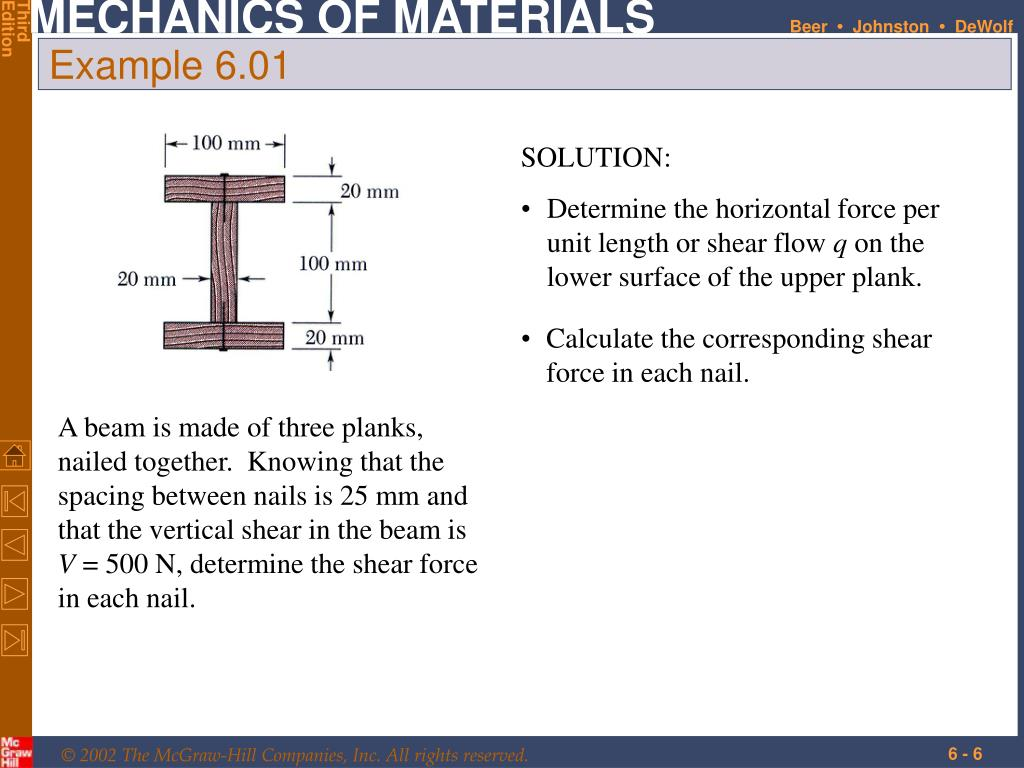 PPT - Shearing Stresses in Beams and Thin-Walled Members