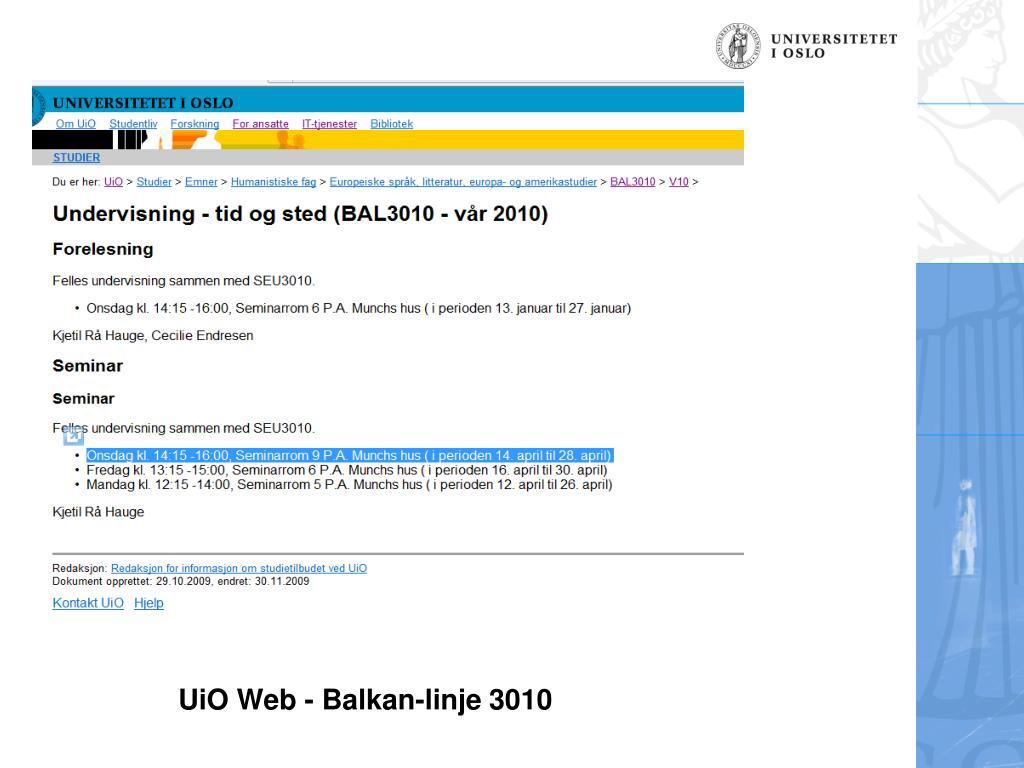UiO Web - Balkan-linje 3010