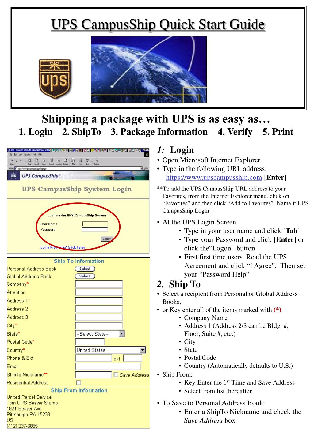 ups campusship quick start guide l.