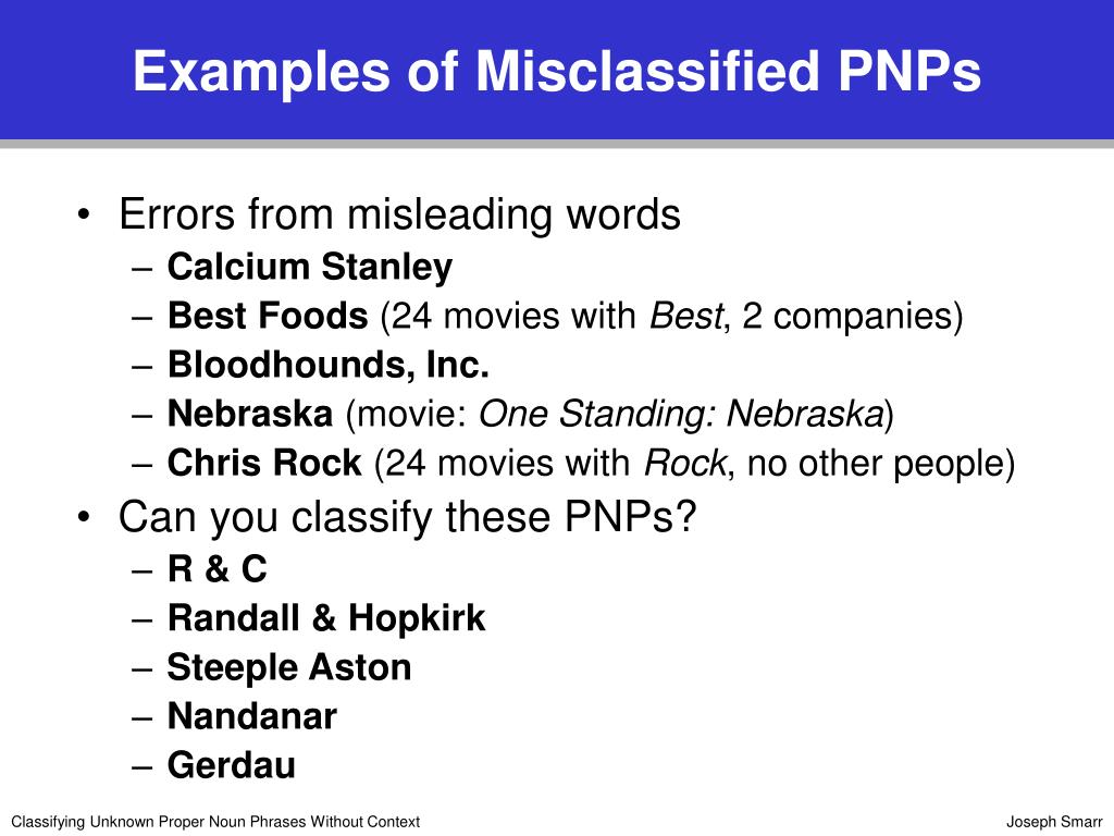 Examples of Misclassified PNPs